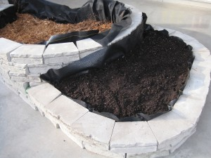 Fill the lower garden bed with mulch, then add soil in the upper planting zone.
