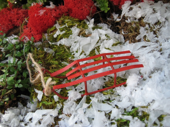 Miniature fairy garden sled