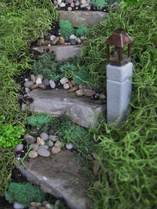 Limestone steppers planted and accessorized